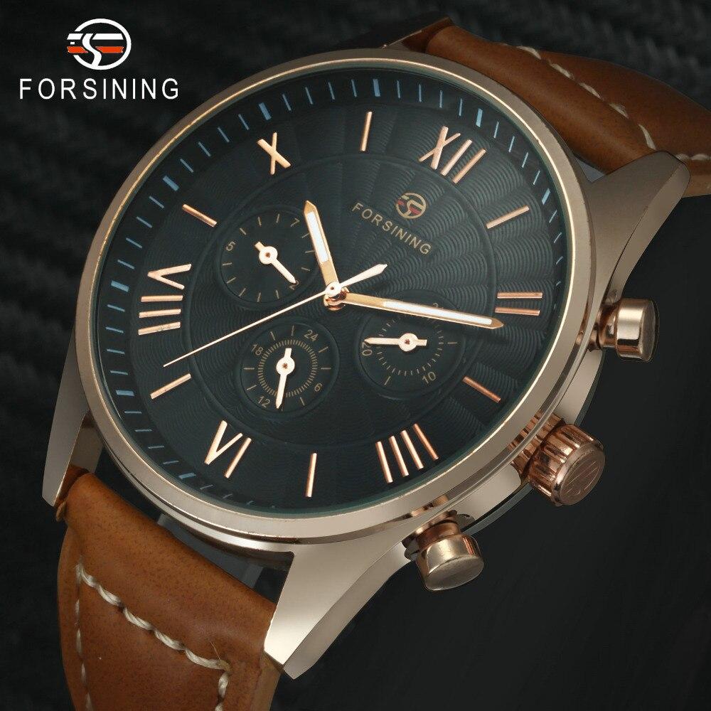 Reloj automático moderno FORSINING, relojes de pulsera mecánicos de moda para hombres, tres subesferas, correa de cuero marrón, reloj masculino Vintage