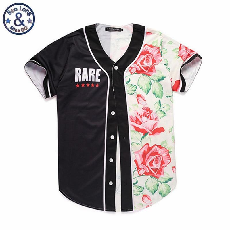 Colores en contraste, para hombre T camisa rosa flor negro uniforme de béisbol Cardigan camisa ropa informal estilo Hip Hop de verano de manga corta Tops