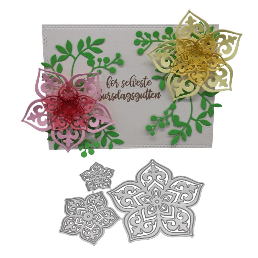 Set de marco de flores de 3 capas troqueles de corte de Metal plantilla 3D DIY Scrapbooking tarjeta haciendo carbono afilado Craft sellos transparentes 2019