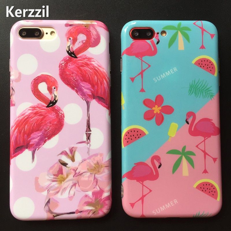 Kerzzil Luxury IMD Flamingo Case For iphone 6 7 8 Soft TPU Cases For iphone X 7 8 PLus Cartoon Lemon Watermelon Leaf Back Cover