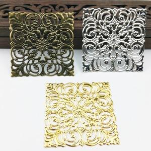 20pcs 50mm Filigree Flower Wraps Metal Charms For Embellishment Scrapbook DIY Jewelry Craft