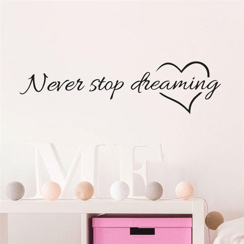 Pegatinas de pared % Nunca dejes de soñar, citas para dormitorio, sala de estar, habitación de niños, pegatinas decorativas de vinilo, decoración del hogar, pegatinas de pared DIY
