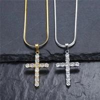 cross necklace stainless steel aaa zircon cross necklace pendant men iced cz pendants necklace chain fashion hip hop jewelry