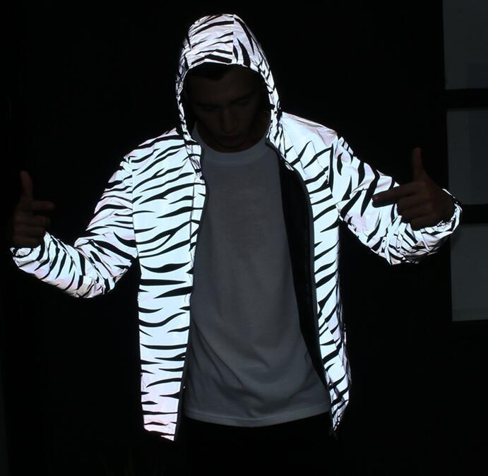 Zebra fluorescente ropa unisex chaqueta casual hiphop rompevientos 3m chaqueta reflectante marea hombres Abrigo con capucha