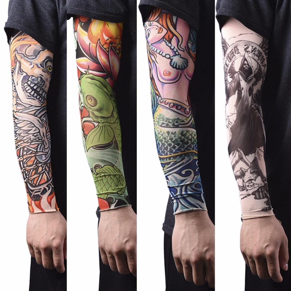 skin protective arm warmer nylon stretchy fake tattoo sleeves design arm tattoos cool men uv protection women tattoo sleeves 1Pc Nylon Tatoo Arm Stockings Arm Warmer Cover Elastic Fake Temporary Tattoo Sleeves For Men Women New Arrival
