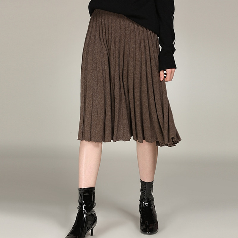 Pleated Skirt Women 100% Cashmere Knitted Solid Elastic Waist Skirt 3 Color High Quality Cashmere Elegant Style 2018 New Fashion