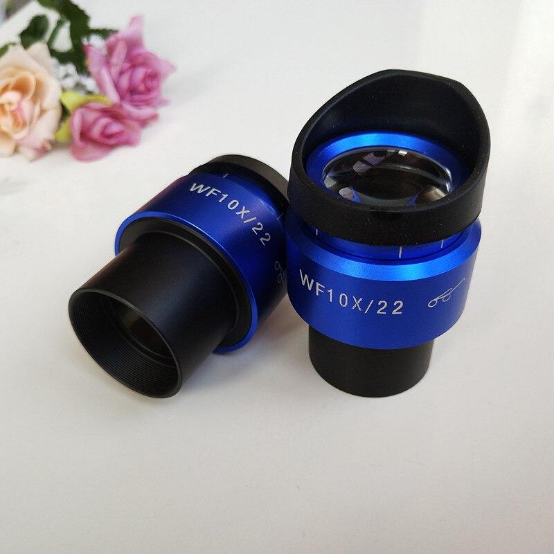 WF10X 22 مللي متر الأزرق قذيفة التكبير قابل للتعديل عالية مشيرة العينية مجسمة ستيريو المجهر العدسة عدسة 30 مللي متر مع المطاط العين الحرس