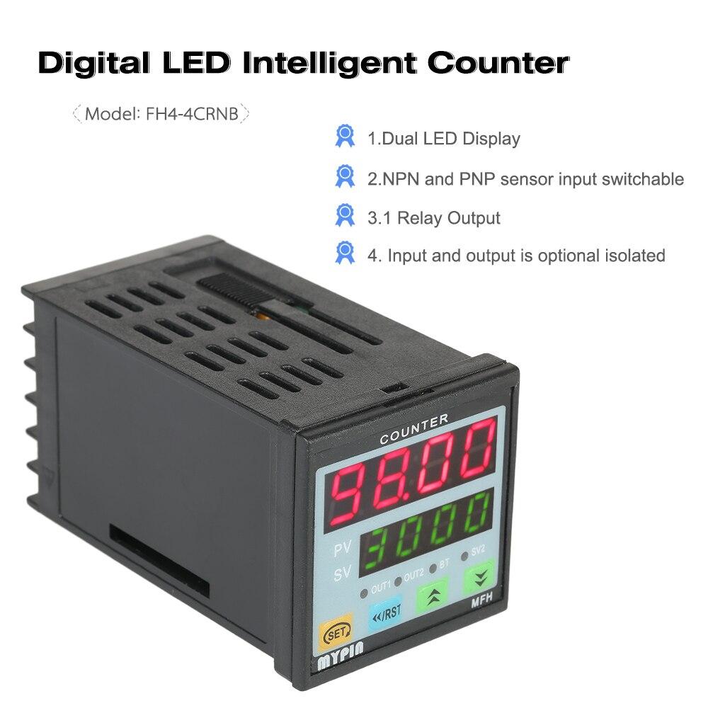 Contador Digital inteligente multiusos MYPIN 4 90-260V AC/DC longitud contador medidor de longitud máquina relé salida PNP NPN