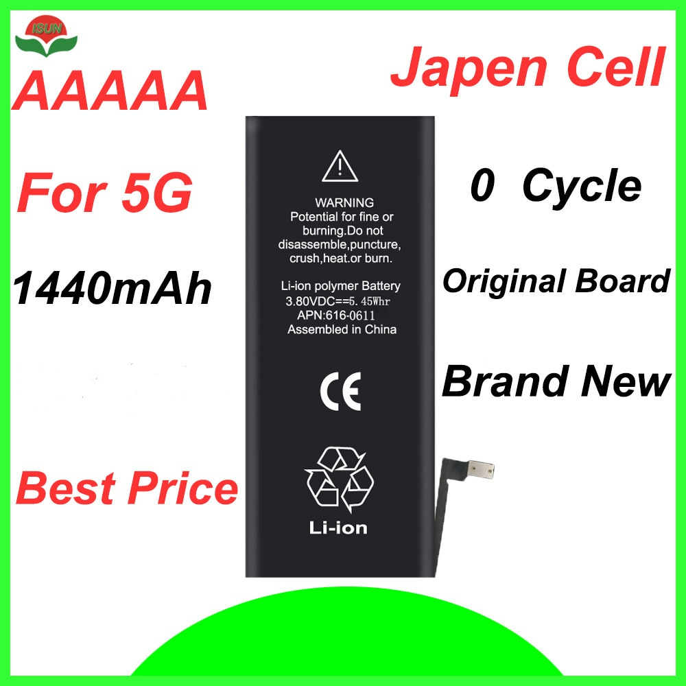 ISUN original quality  0 cycle mobile battery for iPhone battery 5G 1440mAh 3.7V battery replacement enlarge