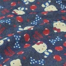 140 см ширина Hello Kitty джинсовая ткань 100% хлопок ткань джинсы мягкая вишня Kitty с принтом деним швейный материал Diy детское платье