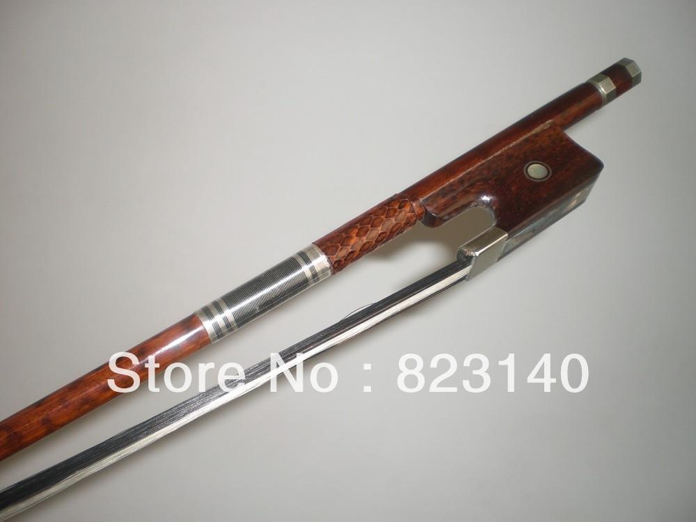 1 Pza de alta calidad de doble bajo arco barroco con pelo de lazo blanco y negro, 3/4 de bajo de madera de serpiente
