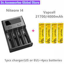 Vapcell 4pcs INR 21700 4000mAh 30A li-ion rechargeable battery with Nitecore new I4 Digi charger LCD Intelligent for smoke E-CIG