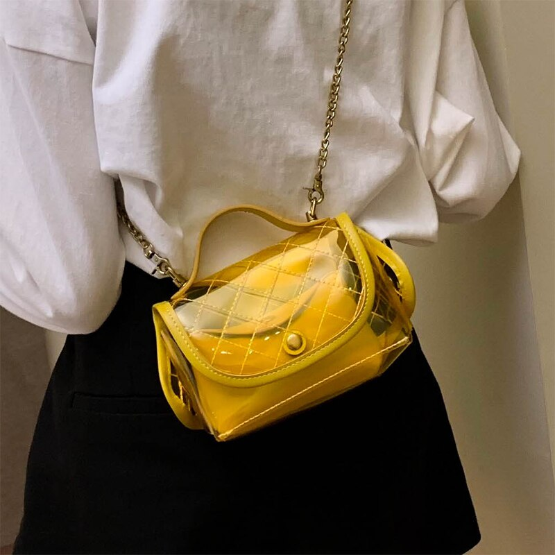 Bolso transparente de alta calidad para mujer nuevo bolso con forma de rombo con cadena red Bolso pequeño rojo bolso de hombro de moda