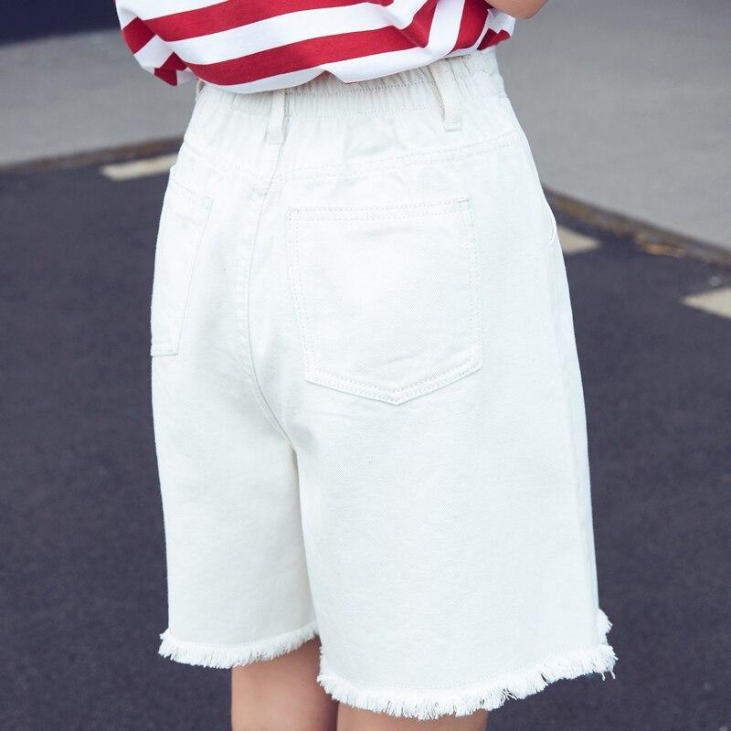 Tassel Hem Half Long Basic Shorts Plus Size Candy Colors Summer New Fashion Loose Cotton Denim Elastic Waist