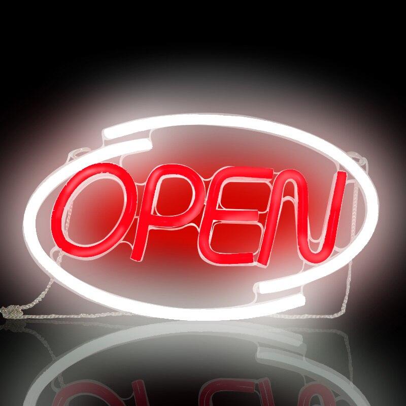 علامة متجر سطوع فائقة ، ضوء نيون LED مفتوح متعدد الألوان ، حروف RGB مفتوحة