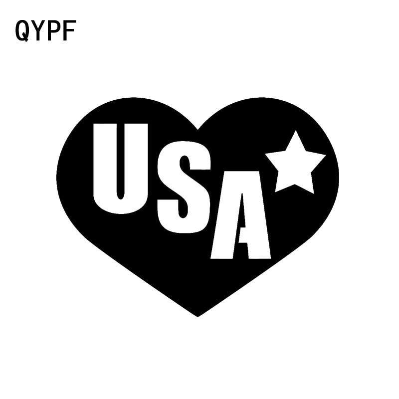 QYPF 14,5 см * 11,2 см I Love USA, США, сердце, патриот, модная наклейка на автомобиль, наклейка, винил, автомобильный Стайлинг, C15-0643