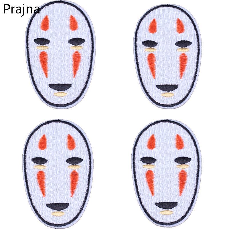 Prajna, parches de hierro en espiral, Hayao Miyazaki, parche insignia bordado de tela sin cara para dibujos de Japón, ropa de dibujos animados