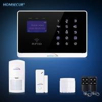 HOMSECUR YA07 (EN/FR Voice Prompt) GSM Wired&Wireless Home Security Burglar Alarm System Touch Keypad RFID Arm/Disarm PIR Sensor