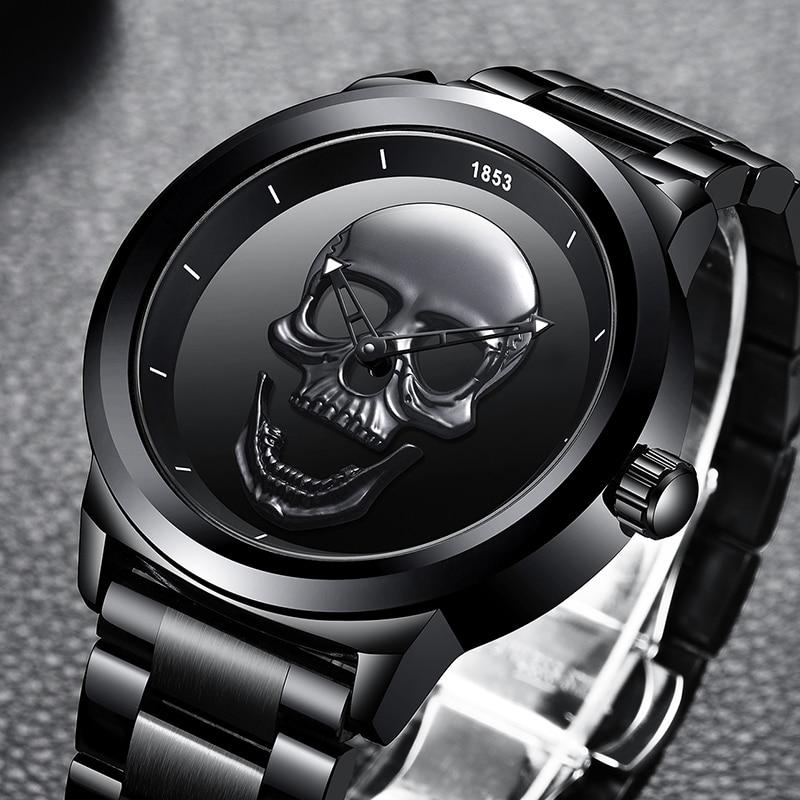 Relogio Masculino 2020 New LIGE Men Watch Top Brand Casual 3D Skull Full Steel Waterproof Military Sport Male Quartz WristWatch