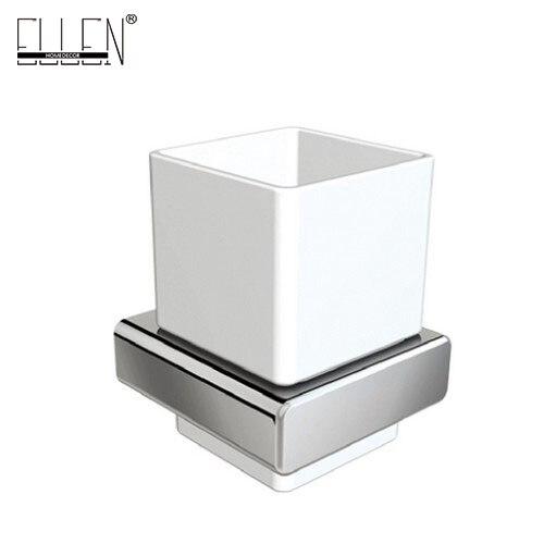 Porte-brosse à dents carré EL81884   Accessoires de salle de bain, porte-brosse à dents en laiton chromé avec gobelet en céramique