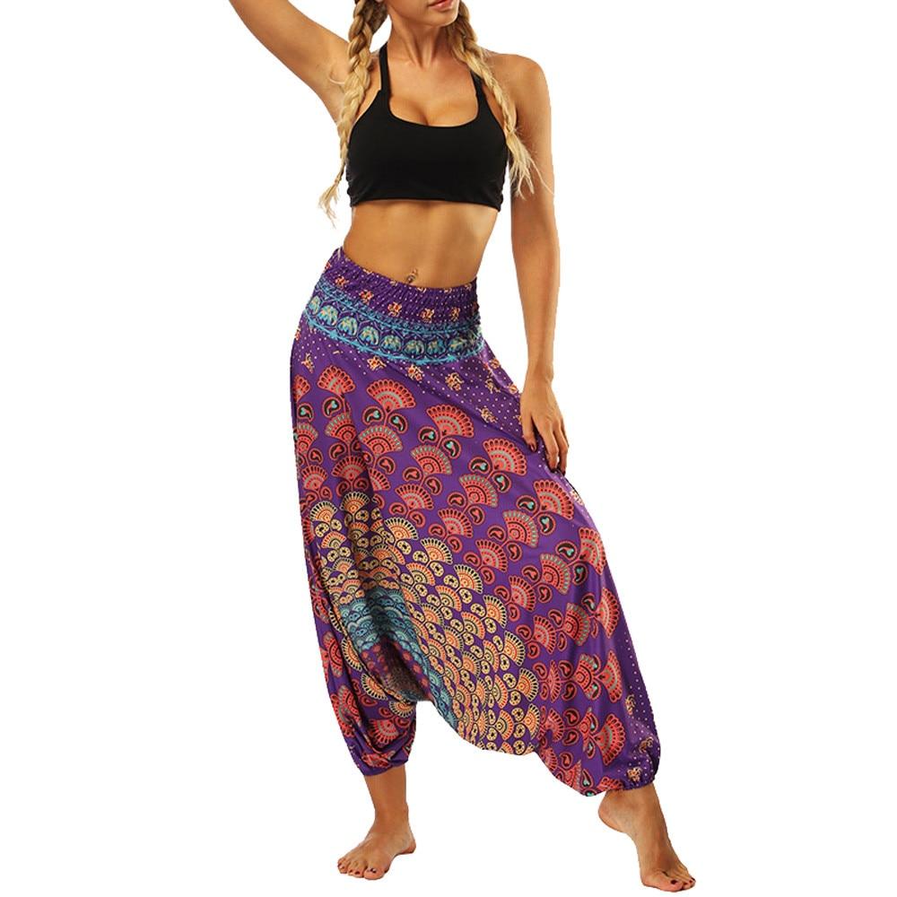 Pantalones de playa de verano para mujer, pantalones de harén Hippie, estilo Boho, Aladdín, cintura elástica, pantalones holgados con estampado de plumas de pavo real para mujer # T30