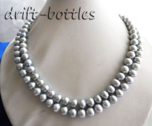2Strands 18'' 10mm Gray Round Freshwater Pearl Necklace