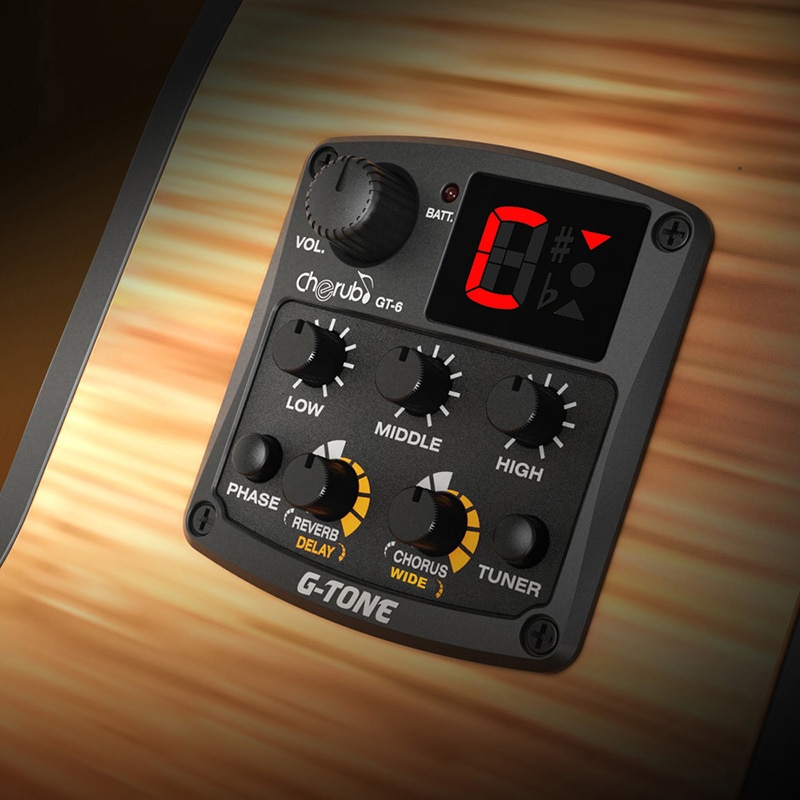 acoustic guitar pre wired preamp 5 band eq tuner piezo pickup Cherub GT-6 Acoustic Guitar Sound Pickup System 3 Band EQ Equalizer Preamp Phase Reverb Delay Chorus Wide Effects Guitar Parts