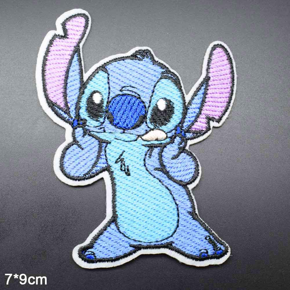 Parche de ropa de tela bordado con orejas largas de animales azules de dibujos animados para ropa de niñas y niños Lilo al por mayor