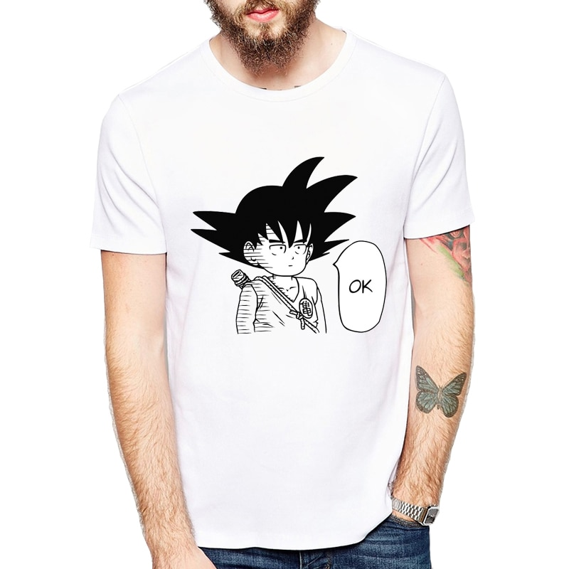 Футболка с героями мультфильмов в японском стиле, Повседневная белая футболка с принтом «Гоку», «One Punch Luffy», «Naruto Ok Hero», японское аниме