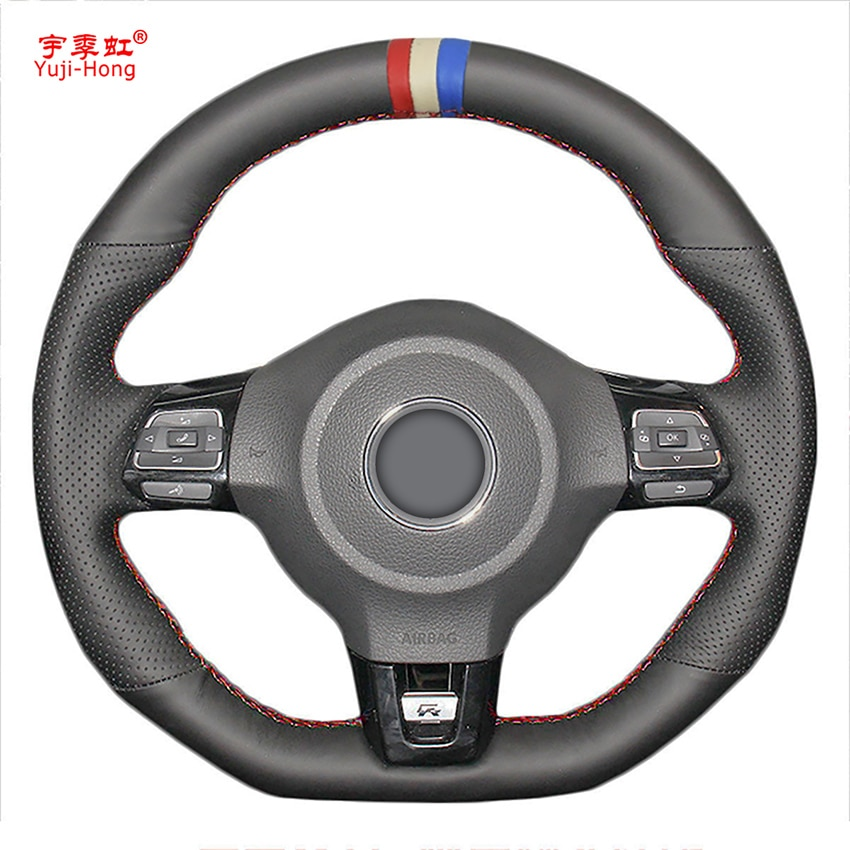 Cuero Artificial de volante de coche cubiertas caso para VW Golf 6 GTI MK6 VW Polo GTI Scirocco R Passat CC r-La Línea 2010
