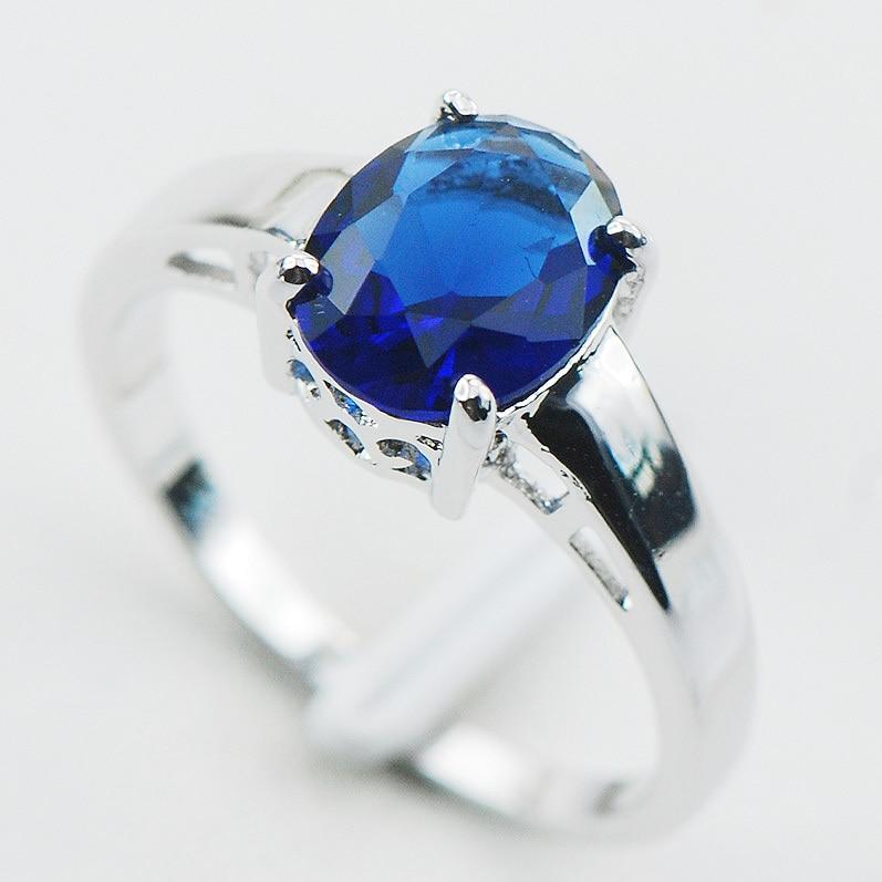 Azul de circón de cristal de Plata de Ley 925 anillo de plata tamaño 5 5 5 6 6 7 8 9 10 11 12 PR02