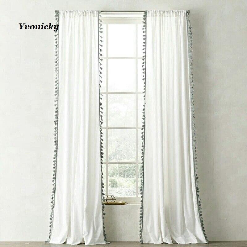 Белый цвет тюль отвесный занавес с кисточкой для спальни гостиной окна Хлопок Лен Ткань Cortinas отвесный Тюль сплошной цвет