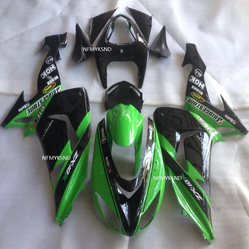 Negro verde ABS de capucha de ZX-10R 2006-2007 genial ZX 10R 06-07 de plástico de la motocicleta cascos carenado