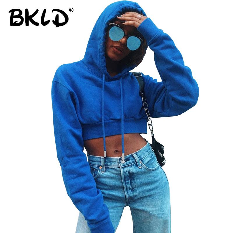 BKLD, sudadera a la moda para mujer, otoño 2019, sudaderas con capucha, Top corto azul liso, Sudadera con capucha de manga larga, Jersey, ropa de calle
