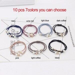 10pcs Korean pearls beads Hair Accessores for women Elastic Hair Ropes Ponytail Holder for girls Rubber Ropes  bride headbands