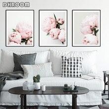 캔버스 페인팅 핑크 모란 꽃 포스터와 인쇄 꽃 벽 아트 그림 장식 침실 장식 포스터 아트