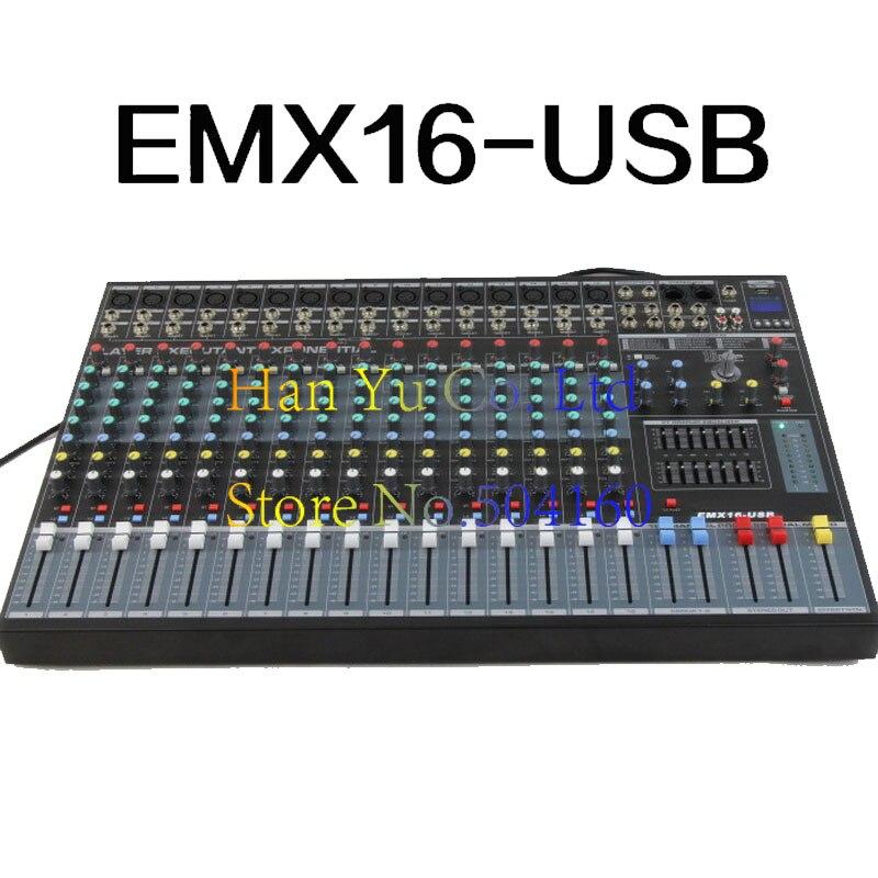 Profesional 16 canales de Karaoke de mezclador de Audio micrófono Digital consola amplificadora de mezcla de sonido USB con alimentación fantasma de 48V