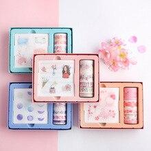 1 set Sakura Planet Girl And Flowers Text DIY Scrapbooking Sticker Tape Suit
