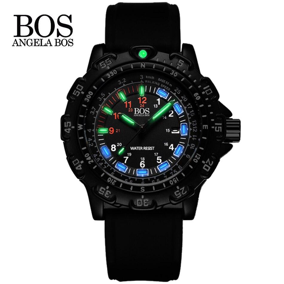Reloj superluminoso militar multifunción para hombres, esfera de brújula giratoria, reloj de lujo de acero militar para hombres, reloj Masculino de marca famosa