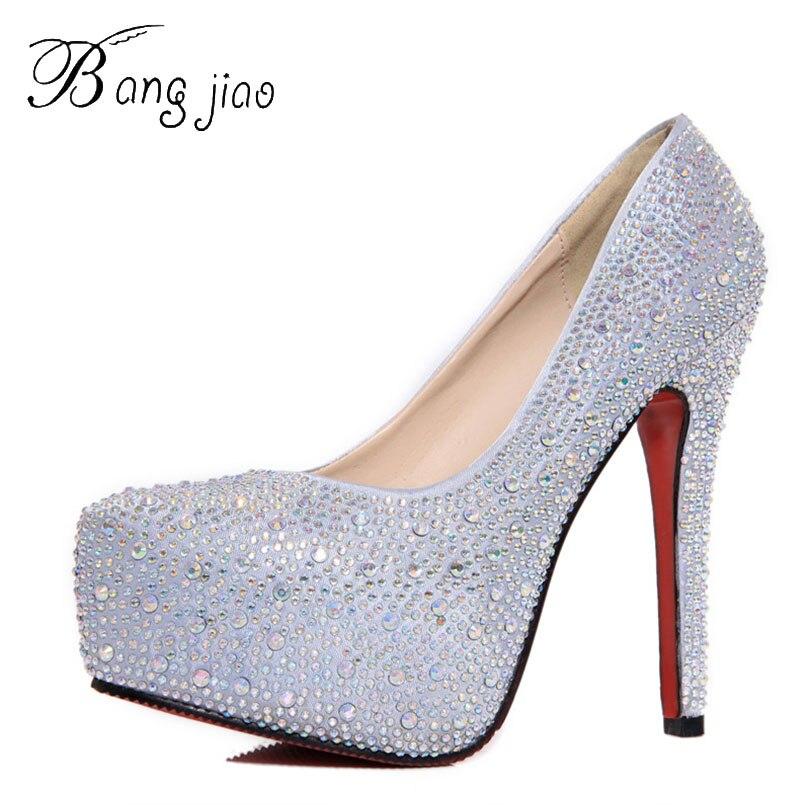 2017 mulheres de salto alto do baile sapatos casamento senhora cristal plataformas prata glitter strass sapatos de noiva salto fino festa bomba 3d02
