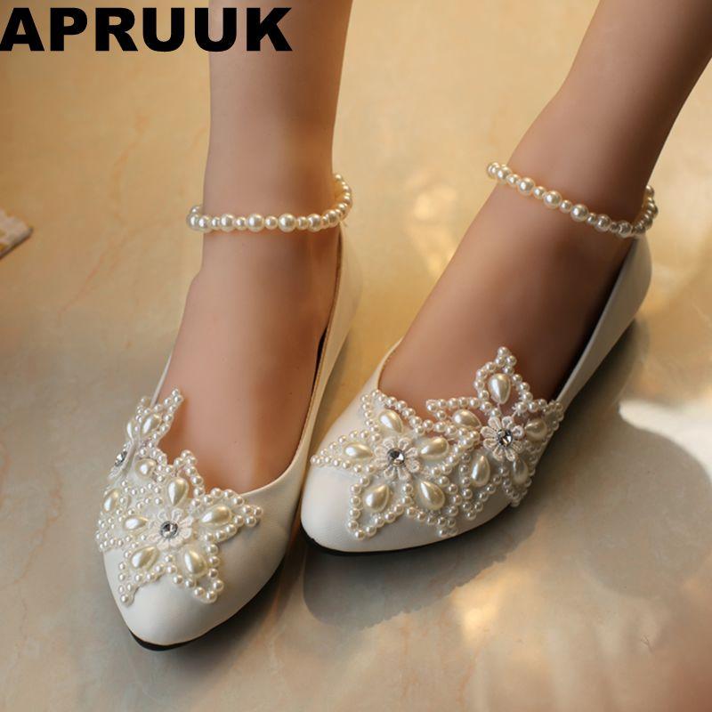 2018 woman white ivory  plus size 34-41 flat wedding shoes pearl anklet brides shoes low high heel women's wedding shoe big sale