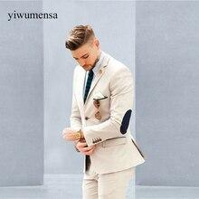 YWMS-360 Mens Suits Set Beige Groom Tuxedos (Jacket+Pants) Groomsmen Wedding Dinner Men Latest Coat Pant Designs Best Men Suit