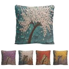Peinture de fleurs, housse de coussin en lin   Peinture, pour bâches de voiture, rouge violet arbre fleurs de cerisier, taie doreiller décorative de maison