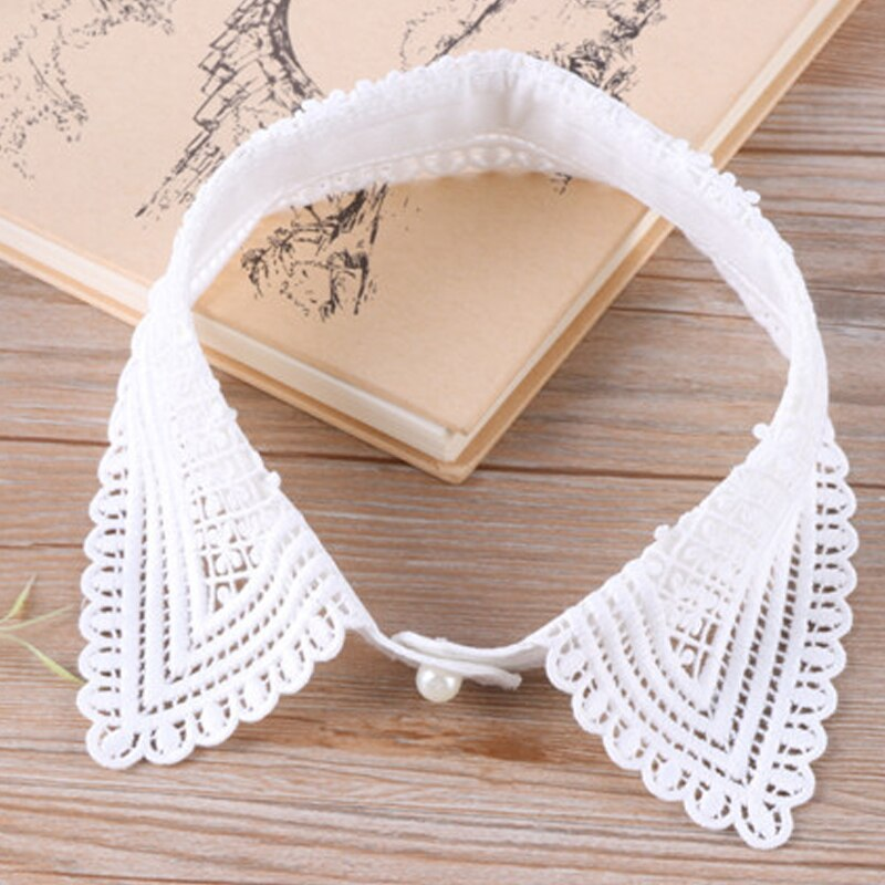 Vintage Perla Negro falso exagerado collar vieiras escalera de bordado encaje corazón cuenta desmontable pestañas collar de imitación de encaje