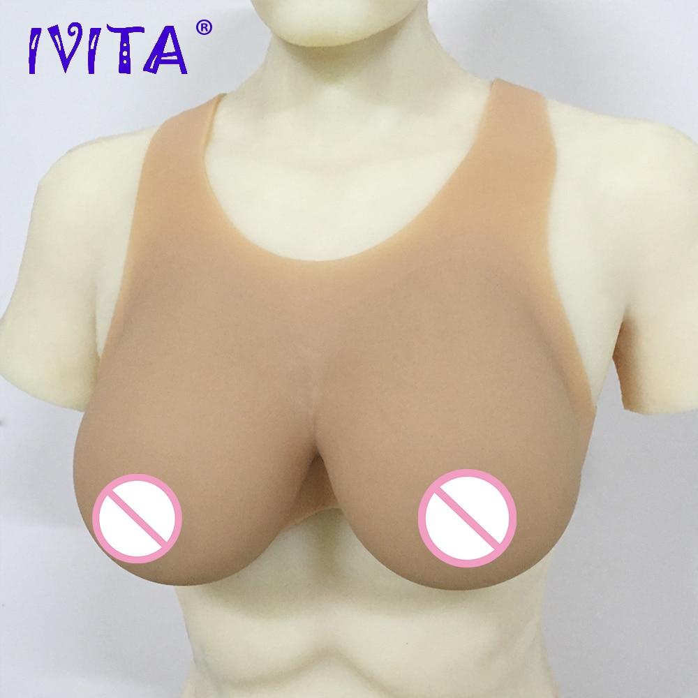 Pechos artificiales de silicona IVITA, formas de pechos postizos Suntan, pechos falsos para travesti o transgénero, Mastectomía Shemale Drag-Queen