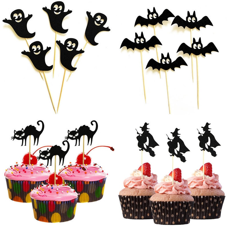 5 unids/pack fantasma bruja gato Pastel de Halloween Toppers Cupcake tarjeta creativo postre cartel para pastel de Halloween suministros de decoración para fiesta