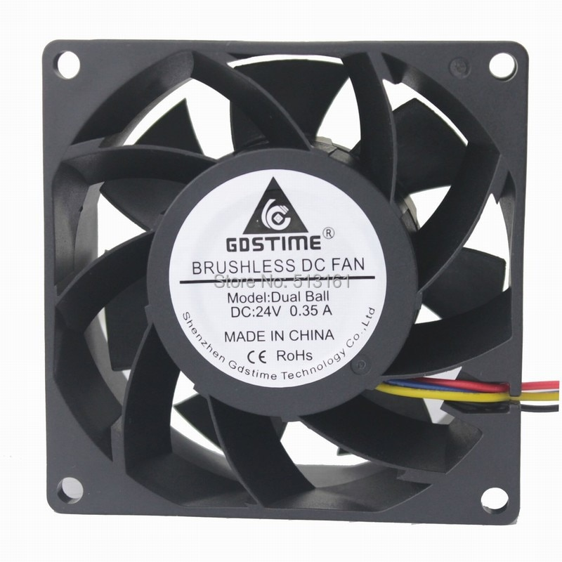 Gdstime 80x80x38mm DC 24V Ball Bearing 8038 PWM 4 Pin Inverter Server Waterproof Cooling Fan emacro fcn dfs501105pq0t fcbq dc 5v 0 5a 4 wire 4 pin 70mm server blower fan