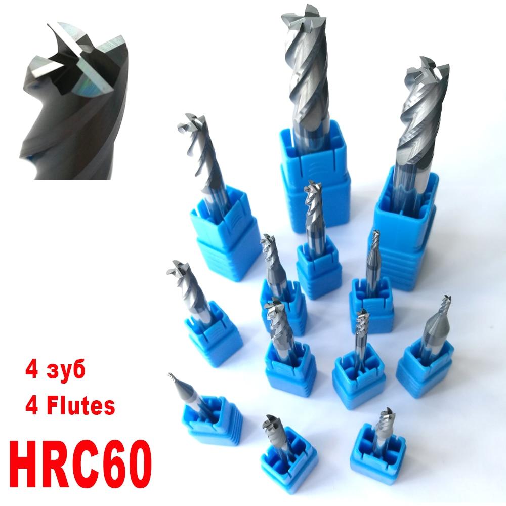 1mm 2mm 3mm 4mm 5mm 6mm 8mm 10mm 12mm 4 Flutes HRC60 Tungsten Carbide Flat square End Mills Spiral Bits CNC Endmill Router Bits