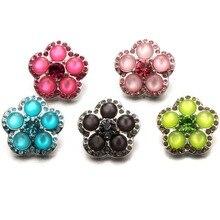 Nouvelle perle dimitation avec cristal fleur bouton pression bijoux pour métal 18mm Snap bijoux Bracelet