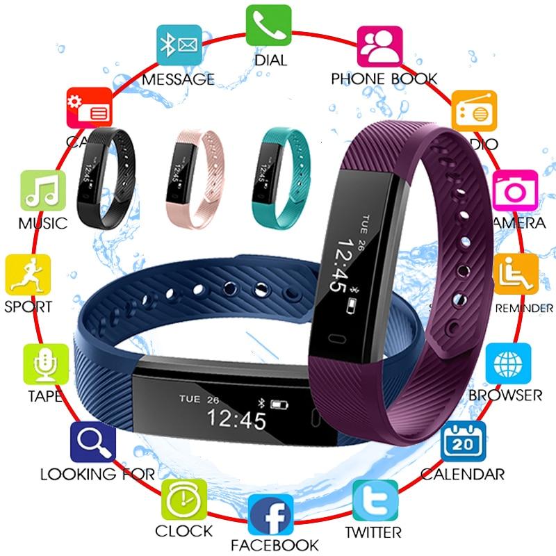 TOP Smart Bracelet Step Counter Fitness SmartBand Alarm Clock Vibration Wristband pk ID107 fit bit miband2 Watch Heart pk S5 Y5